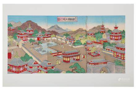TWO JAPANESE WOODBLOCK PRINT TRIPTYCHS.