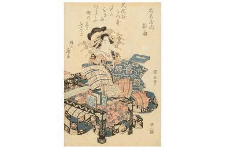 A FRAMED JAPANESE WOODBLOCK PRINT BY UTAGAWA KUINI