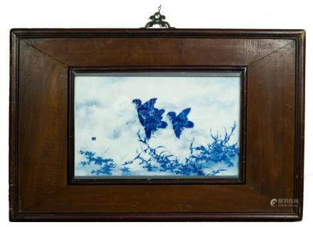 BLUE & WHITE PORCELAIN PLAQUE OF 3 BIRDS, WANG BU 王步 青花喜鵲高飛圖