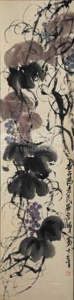 CHINESE PAINTING OF GRAPES & VINES, QI BAISHI 齊白石 設色紙本 葡萄藤蔓立