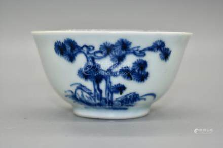 A Blue and White Bowl depicting blossoming flowers