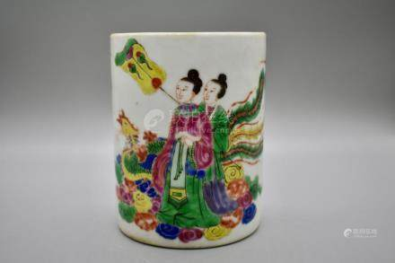 A polychrome enamel lady and phoenix brushpot