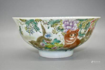 A fine and rare polychrome enamel Cat bowl