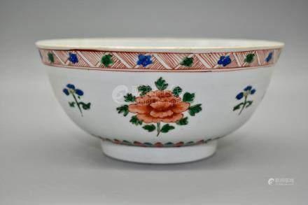 A Famile Vert Bowl depicting flowering peonies