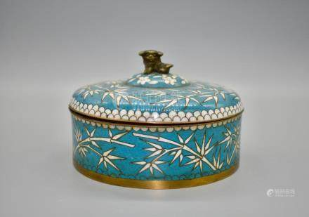 An interesting cloissone enamel bow and cover topped with a