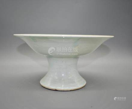 A large white glazed tazza- Possibly Yongle Period