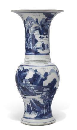 KANGXI PERIOD (1662-1722) 清康熙 青花山水人物图凤尾尊