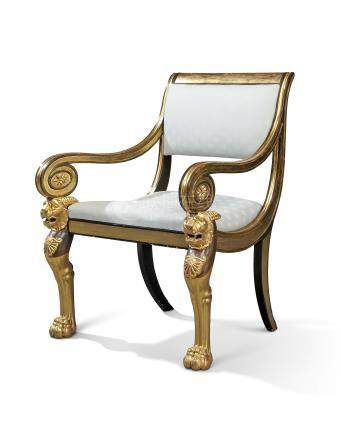 AN ENGLISH PARCEL-GILT AND BRONZED ARMCHAIR
