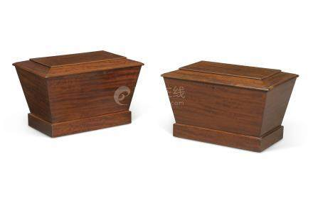 A PAIR OF EARLY VICTORIAN MAHOGANY SARCOPHAGUS WINE COOLERS