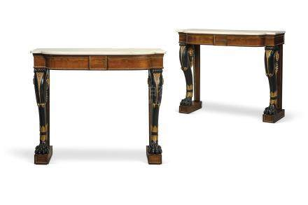 A PAIR OF REGENCY REVIVAL GILT-METAL-MOUNTED ROSEWOOD, EBONISED AND PARCEL-GILT CONSOLE TABLES