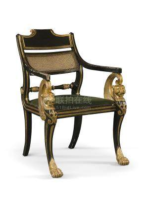 A REGENCY GREEN-PAINTED AND PARCEL-GILT ARMCHAIR