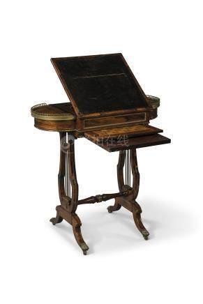 A REGENCY GILT-BRASS-MOUNTED ROSEWOOD WORK AND GAMES TABLE
