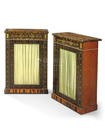 A PAIR OF REGENCY BRASS-INLAID CALAMANDER, EBONY AND INDIAN ROSEWOOD SMALL SIDE CABINETS