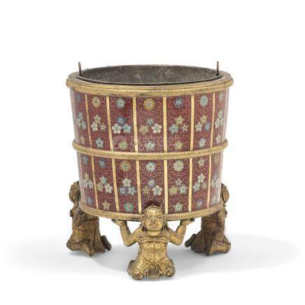 A CHINESE CLOISONNE ENAMEL AND GILT-METAL JARDINIERE