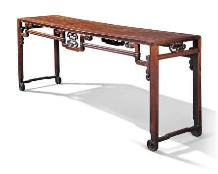 A CHINESE HONGMU CORNER-LEG TABLE