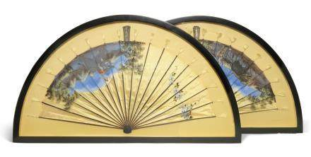 A PAIR OF PAINTED SILK FANS