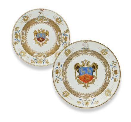 TWO CHINESE ROSE-IMARI ARMORIAL DISHES