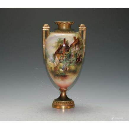 Royal Worcester Double Handled Vase