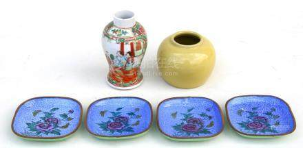 A Chinese famille rose vase, 13cms (5ins) high; together with a Chinese monochrome vase, 8cms (3.
