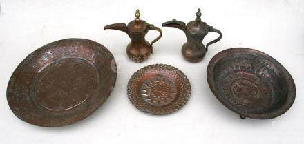 A group of Turkish / Islamic tinned copper items to include a bowl decorated with fish, 27cms (10.