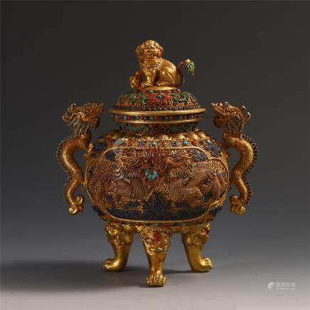 CHINESE GEM STONE INLAID PURE GOLD TRIPLE FEED DRAGON HANDLE LIDDED CENSER