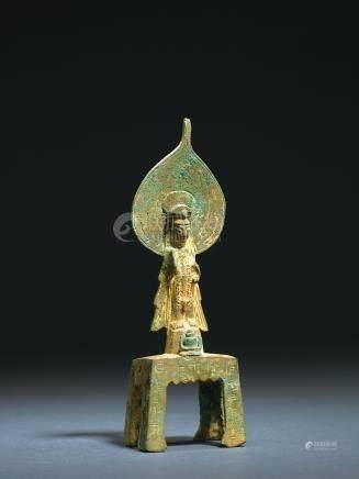 隋 铜鎏金观音菩萨立像