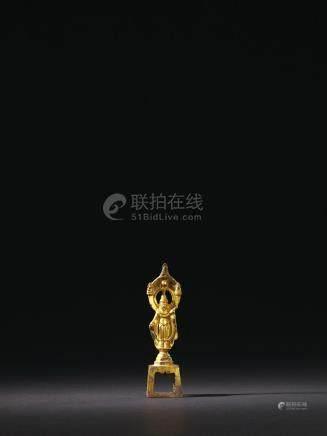 隋 铜鎏金立佛像
