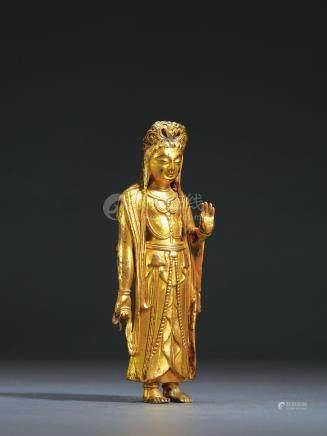 五代 铜鎏金菩萨像
