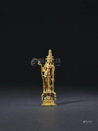 唐 铜鎏金观音菩萨立像
