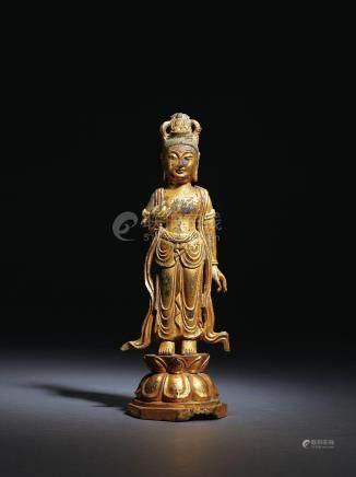 统一新罗 铜鎏金观音菩萨立像