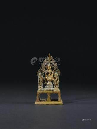 唐 铜鎏金一佛二菩萨像