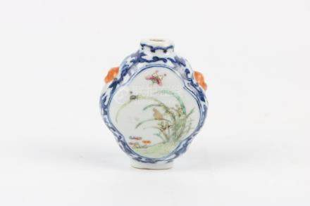 Chinese Blue And White Famille Rose Snuff Bottle