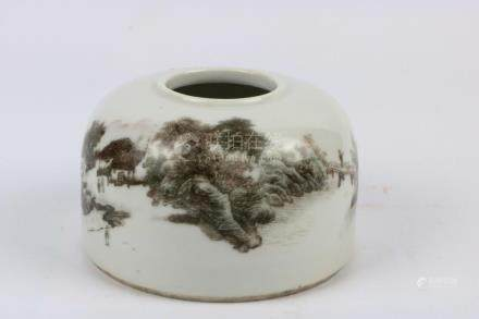 Chinese Ink Colored Porcelain Water Jar