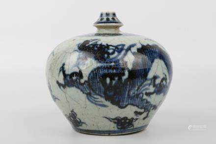 Chinese Yuan Dynasty Blue And White Bottle