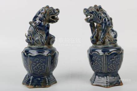 Chinese Pair Of Yuan Dynasty Blue Glaze Lions