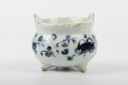 Chinese Ming Dynasty Blue And White Three-Legged Incense Bur