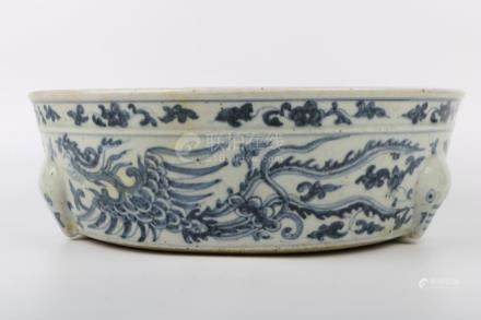 Chinese Ming Dynasty Blue And White Brush Wash Pot