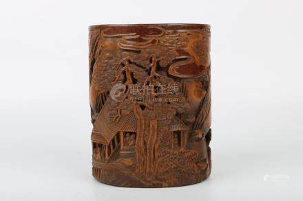Chinese Qing Dynasty Bamboo Carving Brush Pot