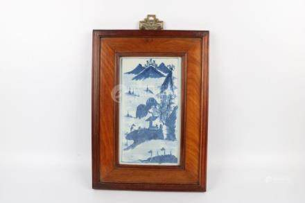 Chinese Redwood Frame Blue And White Porcelain Plate