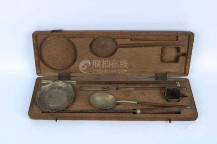Chinese Set Of Tableware With Original Wooden Box