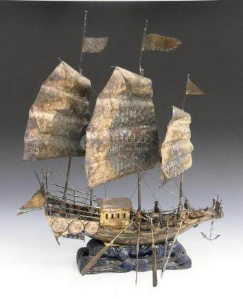 ANTIQUE CHINESE EXPORT SILVER JUNK BOAT