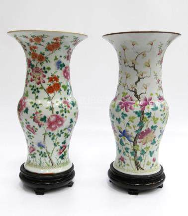 PAIR OF CHINESE FAMILLE ROSE FLORAL BLOOM VASES