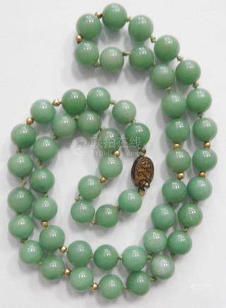 CHINESE GREEN JADE BEADED SILVER CLASP NECKLACE