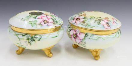 2PC BAVARIAN HAND PAINTED PORCELAIN LIDDED BOWLS