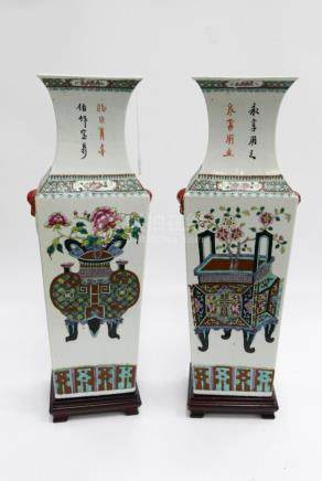 PAIR OF CHINESE LARGE URNS & CALLIGRAPHY VASES