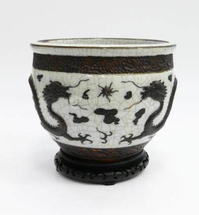 CHINESE BROWN & WHITE CRACKLE GLAZE CACHE POT