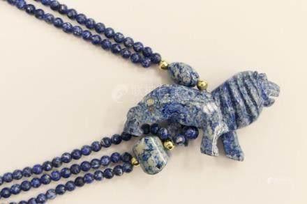 CHINESE CARVED LAPIS NECKLACE WITH LION