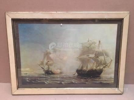 Lot de reproductions :  Une bataille navale...