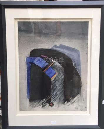 Anonyme  Composition noire et bleue, portant...