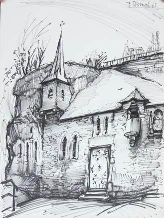 """Dessin """"chapelle Saint Quirin"""" de Pierre…"""